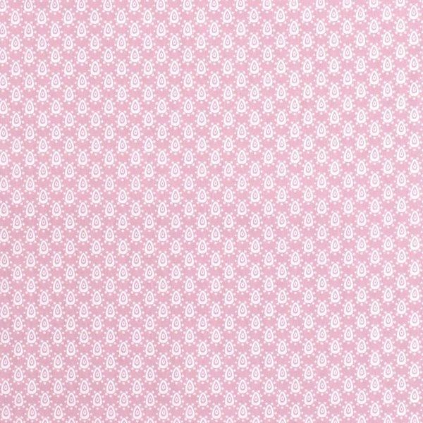 Popeline stof  lichtrose met dessin van  fantasiedruppel