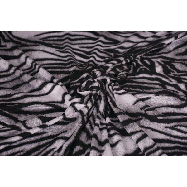 Tricot stof met tijgerstreep grijs