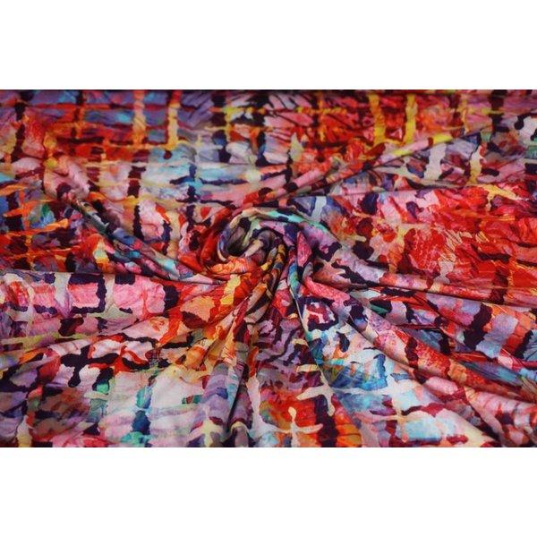 Tricot stof met dessin van  met raster in roodtinten