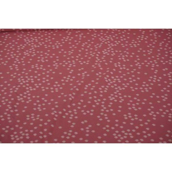 Tricot stof oud roze met minibloemetjes
