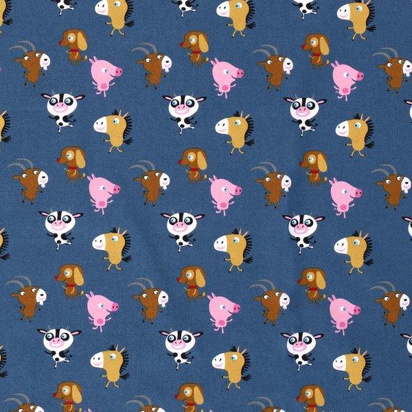 Kinderkatoen gekke diertjes blauw