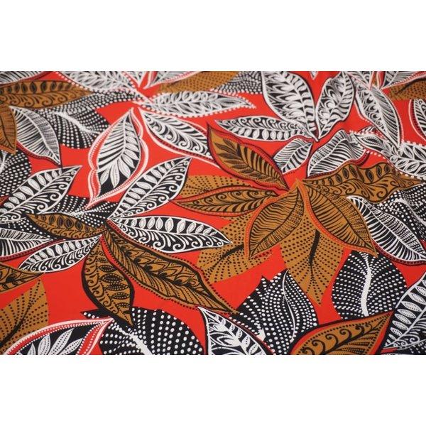 Tricot stof met Afrikaanse print rood