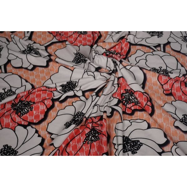 Tricot stof zalmrose met grote bloem