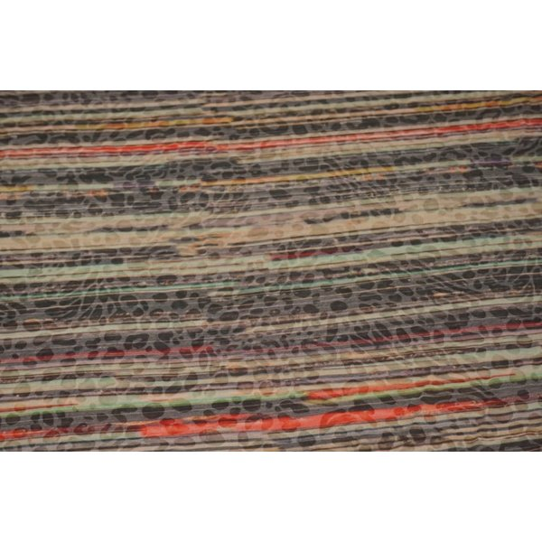Tricot stof met streep en ingeweven dierenprint