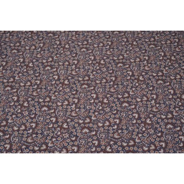 Popeline stof met bruine mini paisley