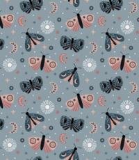Tricot met vlindertjes lichtblauw