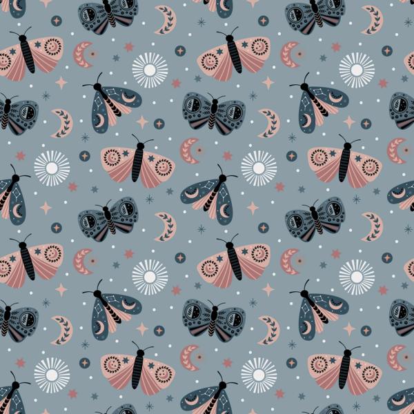 Tricot stof met dessin van vlindertjes lichtblauw