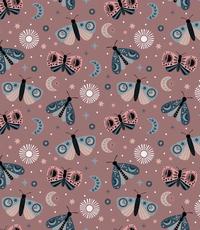 Tricot met  vlindertjes oudroze