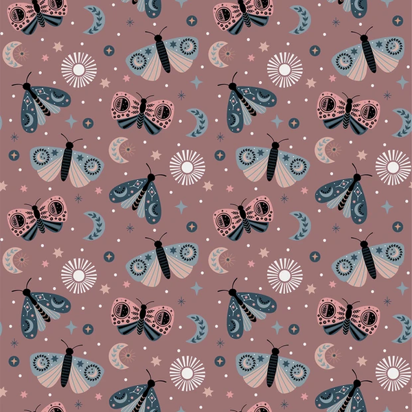 Tricot stof met vlindertjes oudroze