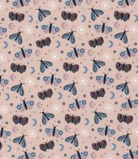 Tricot stof met vlindertjes lichtroze