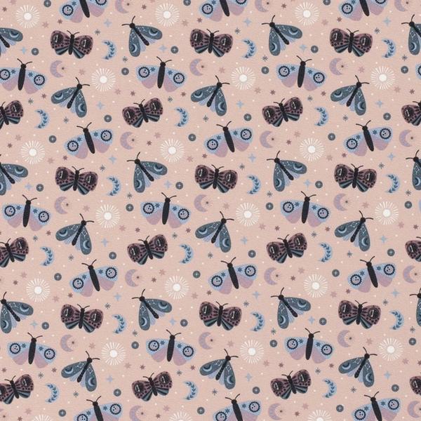 Tricot stof met dessin van vlindertjes lichtroze