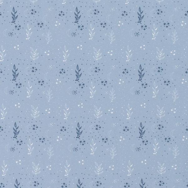 Tricot stof met dessin van blaadjes en sterretjes blauw