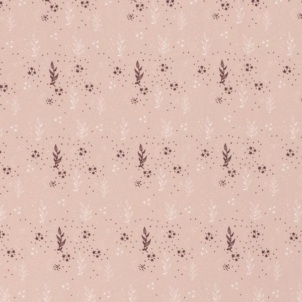 Tricot stof met dessin van blaadjes en sterretjes lichtroze