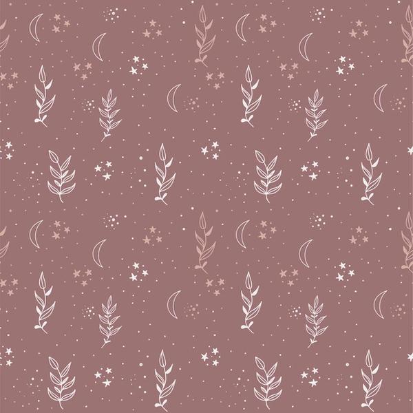 Tricot stof met dessin van blaadjes en sterretjes oudroze
