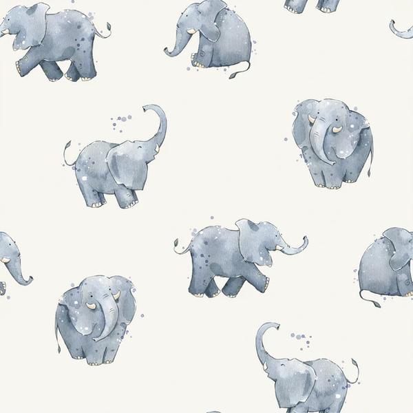 Tricot stof met dessin van  olifantjes