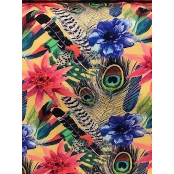 Tricot stof met  tropisch dessin