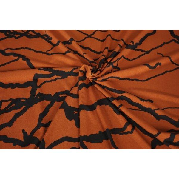 Poly tricot stof brique met dikke strepen