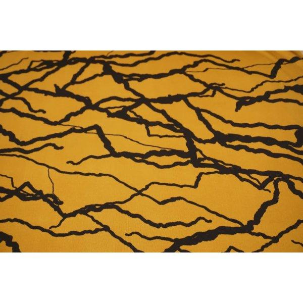 Poly tricot stof okergeel met dikke strepen