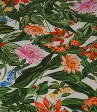 Tricot met print van tropische bloemen