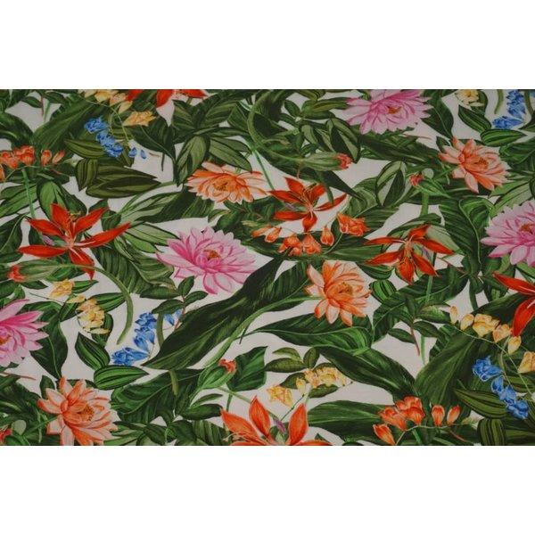 Tricot stof met print van tropische bloemen