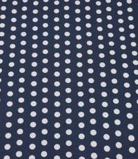 Tricot donkerblauw met bolletjesprint