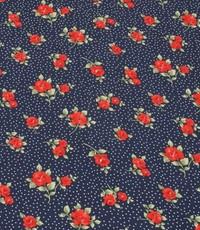 Tricot blauw met print van roosjes