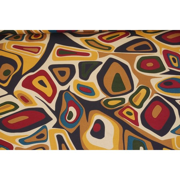 Tricot stof Picasso beige met okergeel