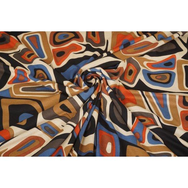 Tricot stof Picasso zwart met beige en brique