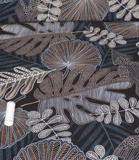 Viscose met diverse bladeren jeansblauw