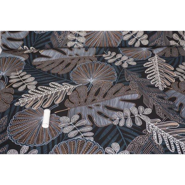 Viscose stof met print van diverse bladeren jeansblauw