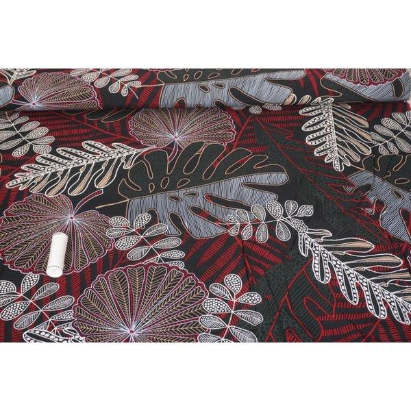 Viscose stof met print van diverse bladeren wijnrood