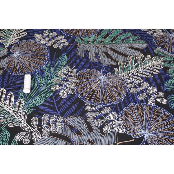 Viscose stof met print van  diverse bladeren kobaltblauw