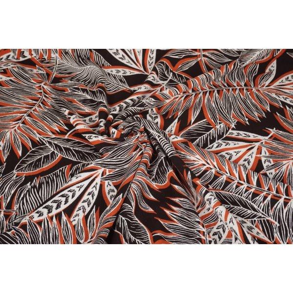 Crinkle Viscose stof met grafisch bladmotief brique