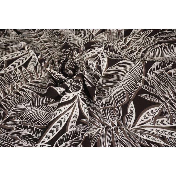 Crinkle Viscose stof met grafisch bladmotief taupe
