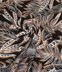 Crinkle Viscose grafisch blad bruin