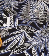 Crinkle Viscose grafisch blad blauw