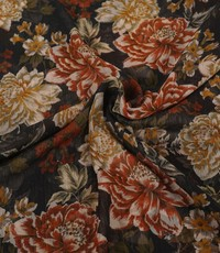 Chiffon met lurex en dessin van herfstbloemen