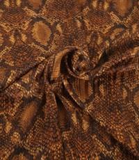 Chiffon semi transparant met bruine slangenprint
