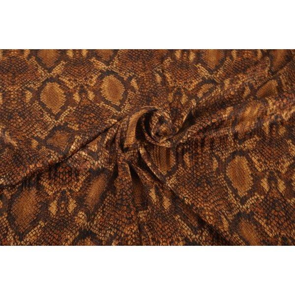 Chiffon stof semi transparant met bruine slangenprint