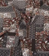 Poly tricot patchwork met bordeaux