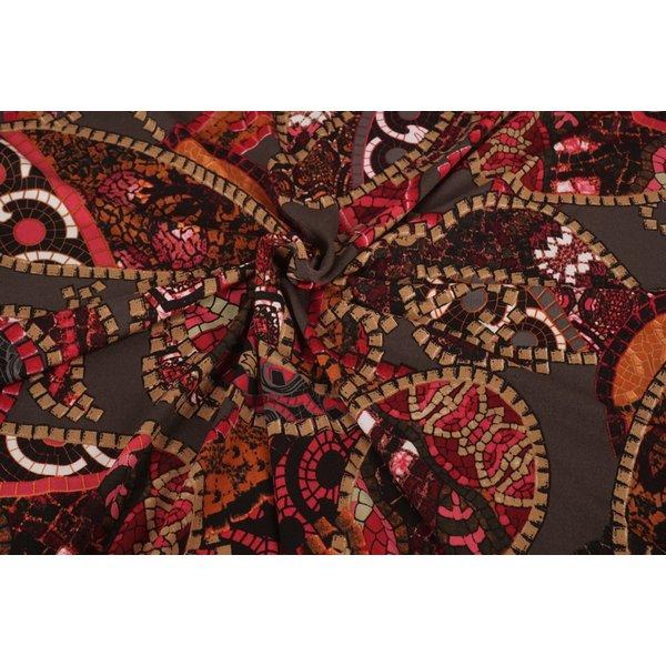 Poly tricot stof  Gaudi met rozetinten