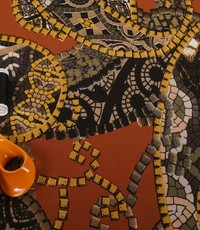 Poly tricot  Gaudi met geeltinten