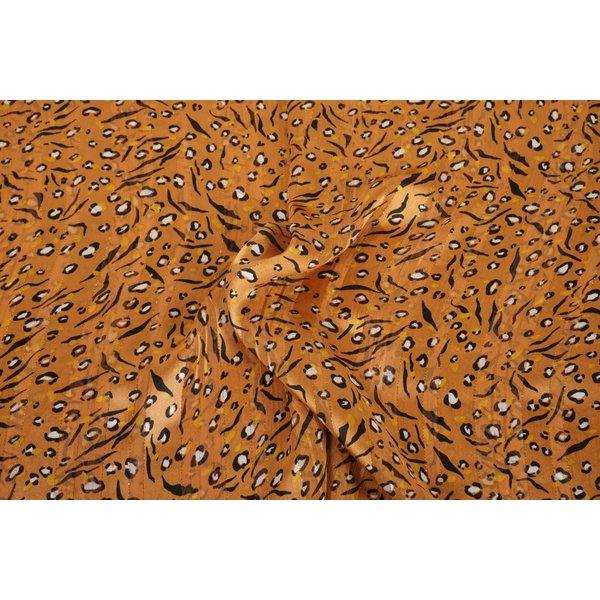 Chiffon stof met dierenprint in oranjegeel