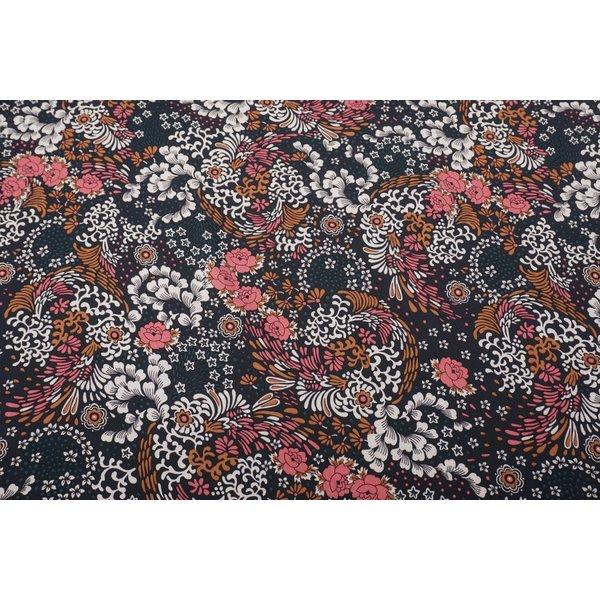 Viscose stof donkergroen met print van bloemen en sterretjes