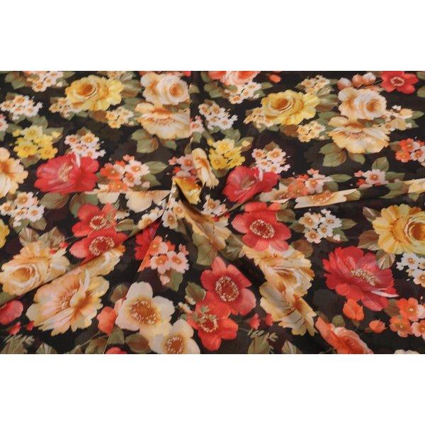 Chiffon stof met romantische bloemen