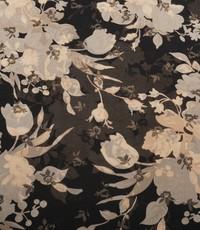 Chiffon zwart met beige bloemenpatroon