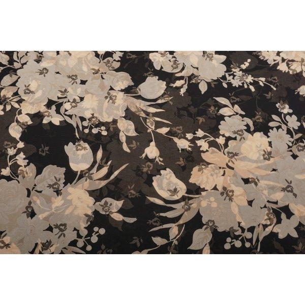 Chiffon stof zwart met beige bloemenpatroon