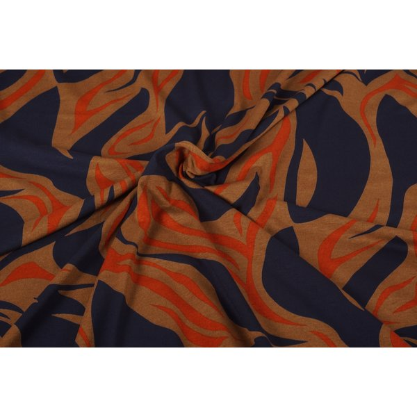 Viscose tricot stof gevlamd blauw