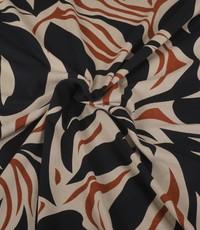 Viscose tricot gevlamd zwart
