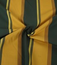 Popeline met brede strepen groen en geel